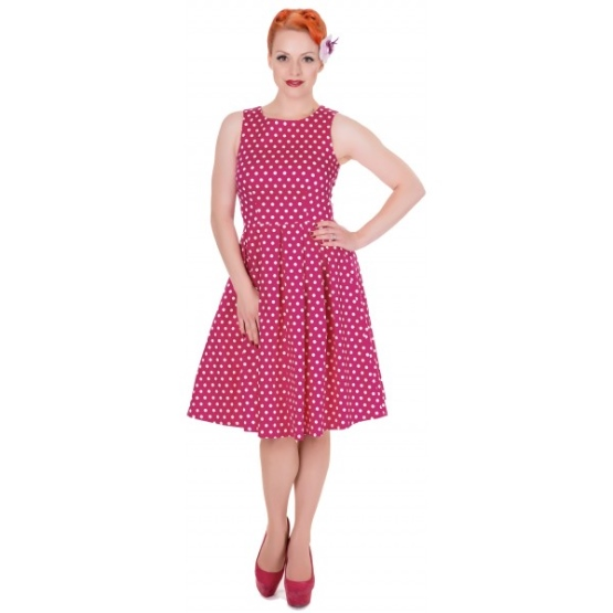 Retro šaty Dolly and Dotty Lola Fuchsia Polka