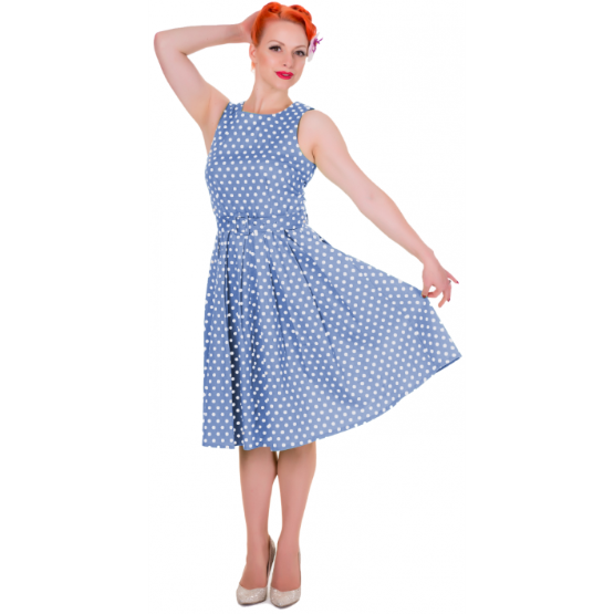 Šaty Dolly and Dotty Lola Light Blue Polka